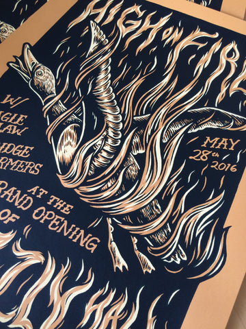 HIGH ON FIRE screenprinted poster