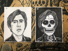 BRYAN FERRY living & dead original ink drawings set