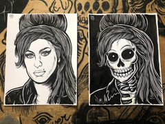 AMY WINEHOUSE living & dead original ink drawings set