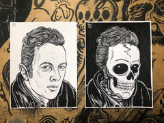 JOE STRUMMER living & dead original ink drawings set