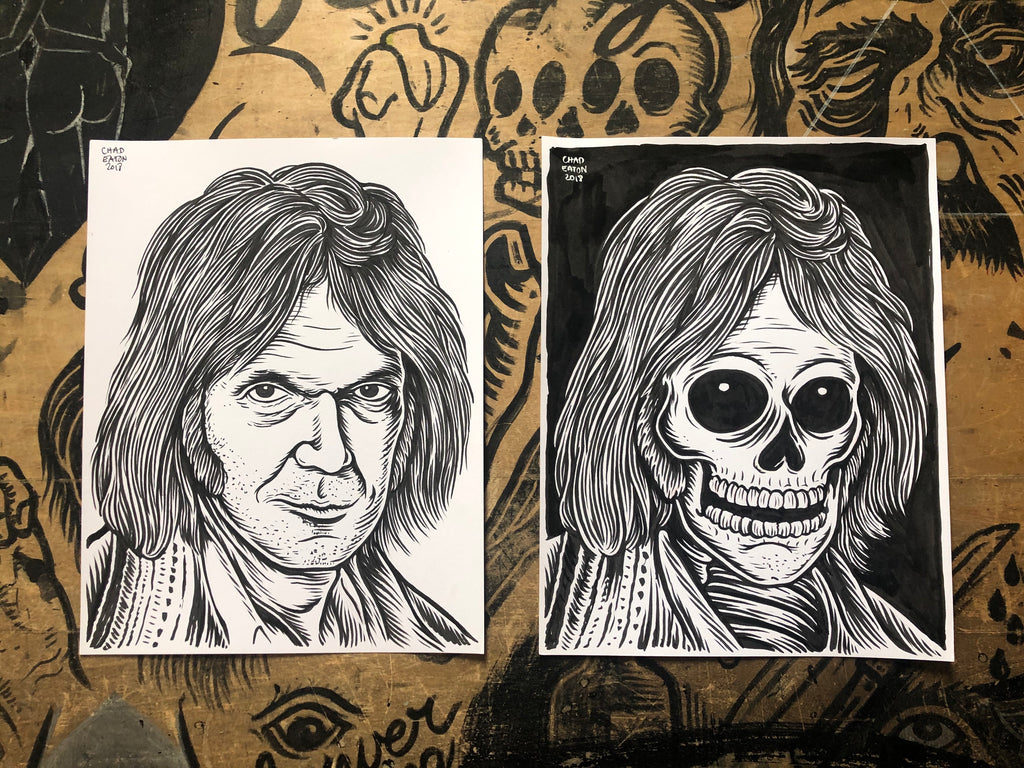 NEIL YOUNG living & dead original ink drawings set