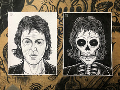 PAUL MCCARTNEY living & dead original ink drawings set