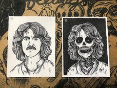 GEORGE HARRISON living & dead original ink drawings set
