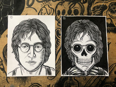 JOHN LENNON living & dead original ink drawings set