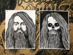LEON RUSSEL living & dead original ink drawings set