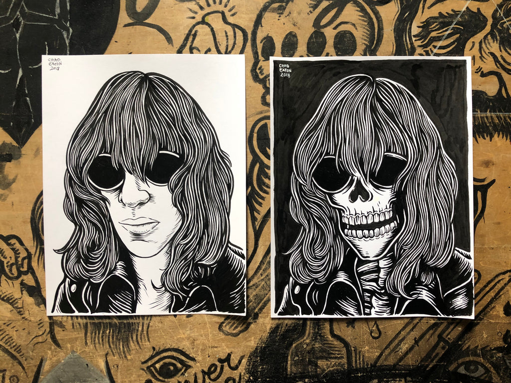 JOEY RAMONE living & dead original ink drawings set