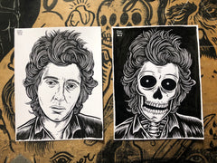 JOHNNY THUNDERS living & dead original ink drawings set