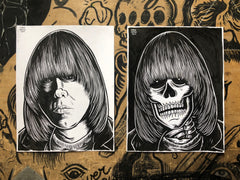 JOHNNY RAMONE living & dead original ink drawings set