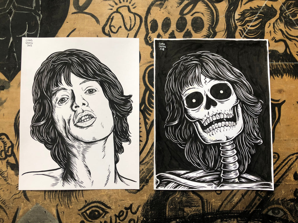 MICK JAGGER living & dead original ink drawings set