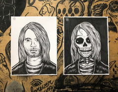 KURT COBAIN living & dead original ink drawings set