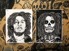 BOB MARLEY living & dead original ink drawings set