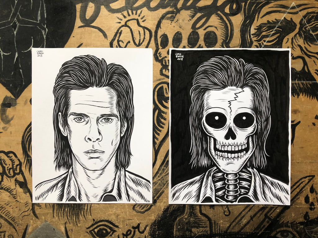 NICK CAVE living & dead original ink drawings set