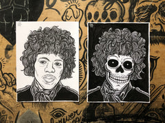 JIMI HENDRIX living & dead original ink drawings set