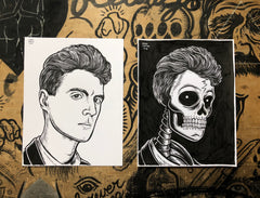 DAVID BYRNE living & dead original ink drawings set