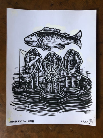 3 FISHERMEN original ink drawing on paper.