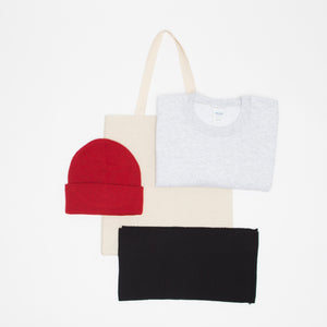SWEATER + SCARF + TOQUE + TOTE
