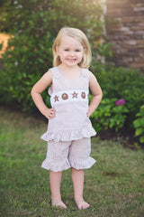 Tan Seersucker Smocked Sand Dollar & Starfish Ruffle Shorts Set