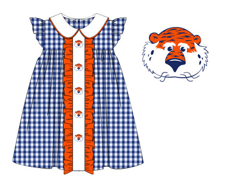 Blue Gingham Angel Sleeve Embroidered Tiger Dress w/ Orange Ruffles