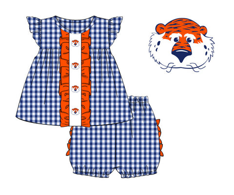 Blue Gingham Angel Sleeve Embroidered Tiger Bloomer Set w/ Orange Ruffles