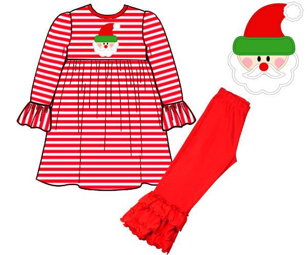 Girls Knit Santa Applique Triple Ruffle Pants Set, Girls Pants Set, The Smocking Bug, The Smocking Bug