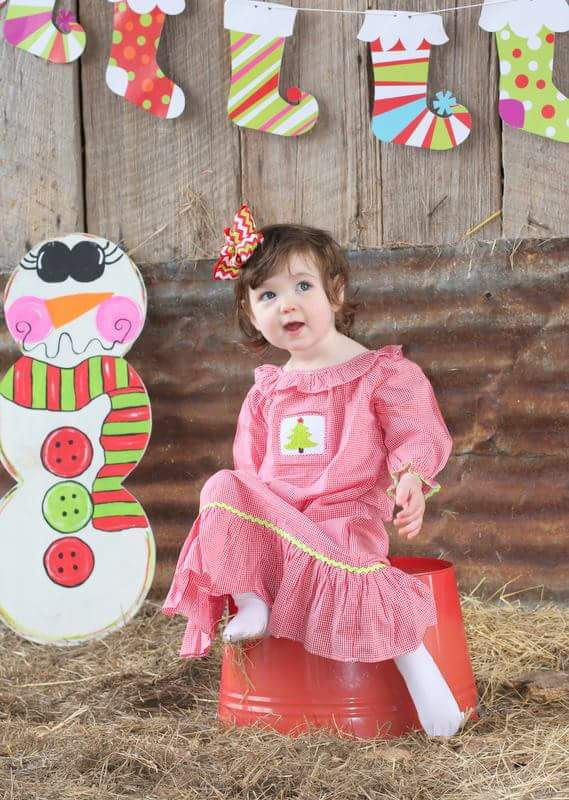 Girls Smocked Red Gingham Christmas Tree Nightgown, Pajamas, The Smocking Bug, The Smocking Bug