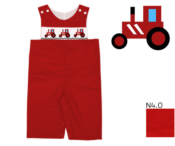 appliquéd  & Smocked Toddler and Baby boys Red Corduroy Tractor Longall. More outfits for kids online at The Smocking Bug