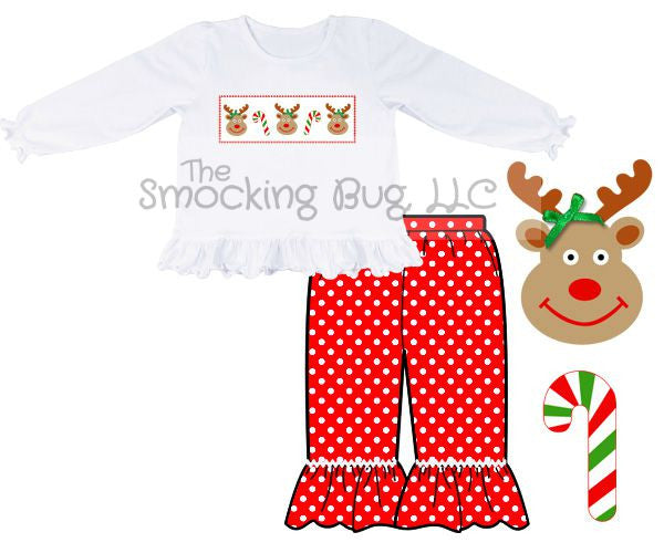 Smocked Rudolph & Candy Canes Ruffle Shirt & Red Polka Dotted Ruffle Pants Set, Girls Pants Set, The Smocking Bug, The Smocking Bug