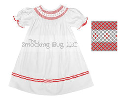 Classic White Bishop Dress with Red Geometric Smocking, Dresses, The Smocking Bug, The Smocking Bug