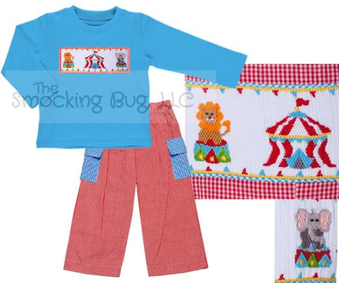 Boys Turquoise Knit Smocked Circus Long Sleeved Shirt & Red Gingham Pants Set