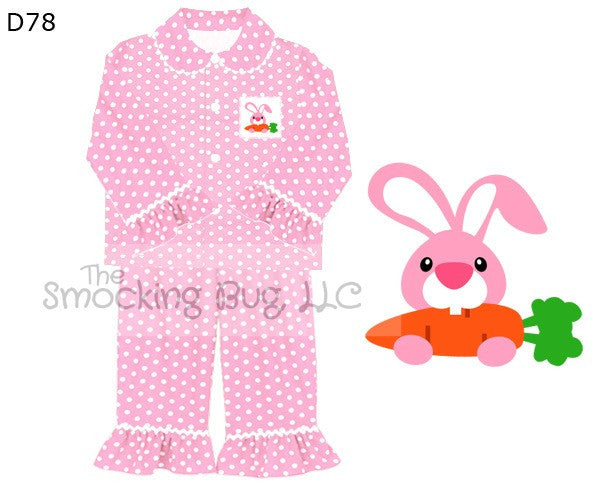Pink Polka Dot Smocked Bunny Pajamas, smocked pajamas, The Smocking Bug, The Smocking Bug