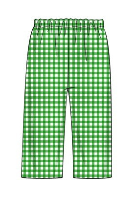 Green Gingham Woven Cotton Pants