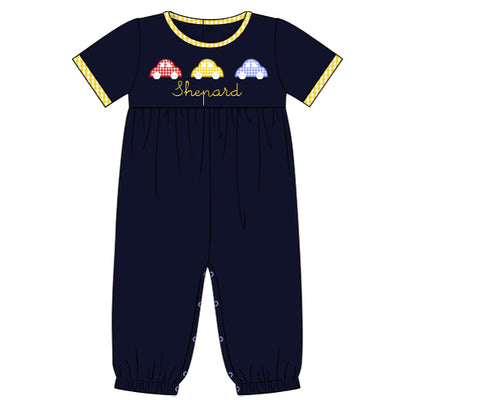 Navy Knit Cars Applique Romper