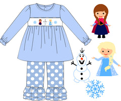 Girls Smocked Frozen Inspired Light Blue Top with Polka Dot Ruffle Pants