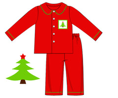 Boys Knit Red PJ's with Smocked Christmas Tree, Boys Smocked PJ's, The Smocking Bug, The Smocking Bug