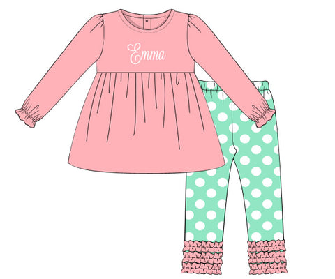 Pink & Mint Monogrammable Pants Set