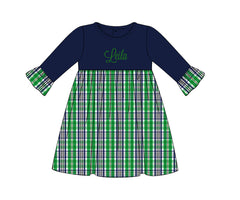 Girls Monogrammable Green & Navy Plaid Dress, Girls Monogrammable Dress, The Smocking Bug, The Smocking Bug