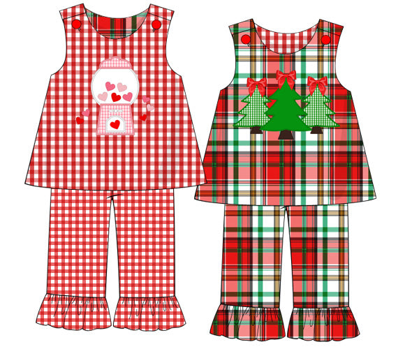 Girls Reversible Christmas Plaid and Valentines Pants set