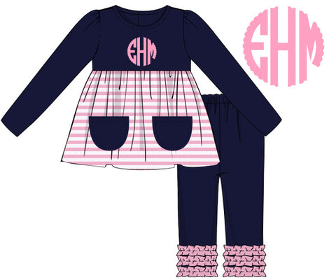 Navy & Pink Knit Monogrammable Pant Set
