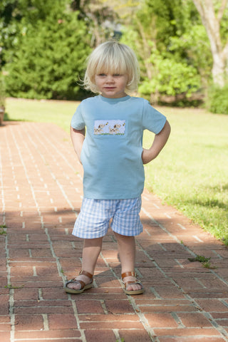 Light Blue Gingham Smocked Puppies Boys Shorts Set