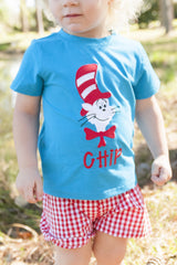 Boys Aqua Applique Dr. Seuss Inspired Monogrammable Shirt, appliqued shirt, The Smocking Bug, The Smocking Bug