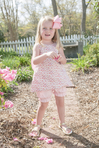 Monogrammable Floral Top with Big PINK Bow and Bloomers