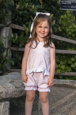 Light Pink Gingham Seersucker Tie Back Bloomer Set