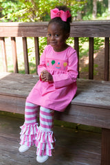 Pink Smocked Celebration Swing Top & Pink Striped Knit Ruffle Pants, Girls Smocked Pants Set, The Smocking Bug, The Smocking Bug