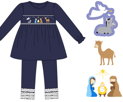Navy Knit Smocked Nativity Ruffle Leggings Set