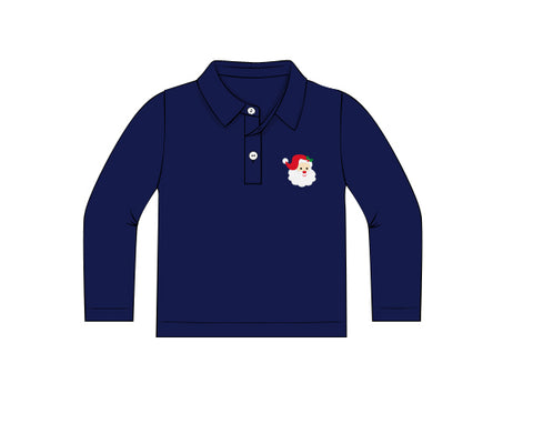 Santa Embroidered Navy Blue Polo Shirt