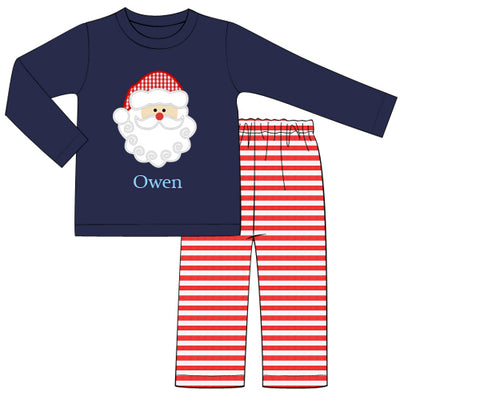 Boys Navy Santa Appliquéd Shirt and Pants Set