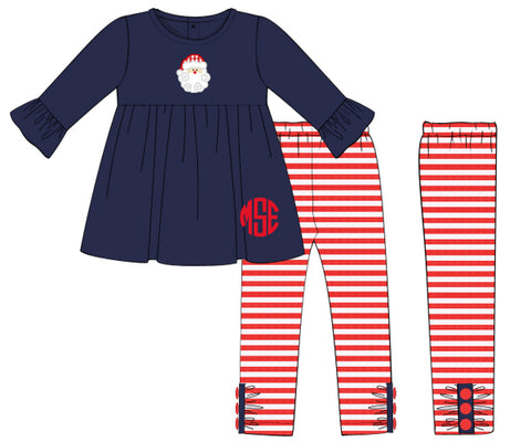 Girls Navy Appliqued Santa with Red striped pants set