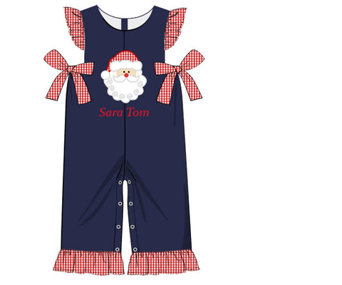 Girls Santa Applique Side Tie Longall