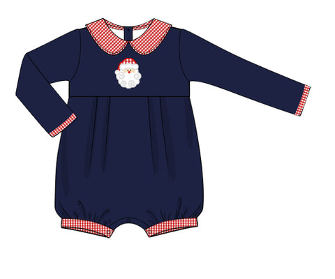 Navy Applique Santa Collared Long Sleeved Romper