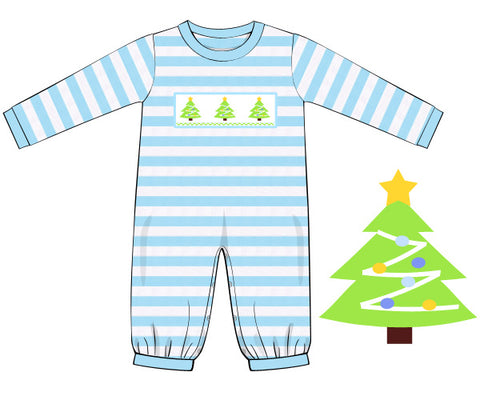 Knit Smocked Christmas Tree Romper